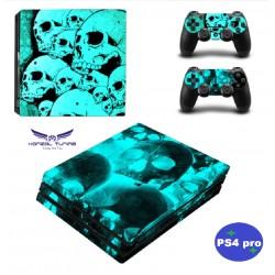 PS4 Pro - Konzolra és kontrollerre - Matrica - Neon Skull