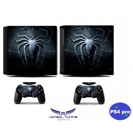 PS4 Pro - Konzolra és kontrollerre - Matrica - Black Spider