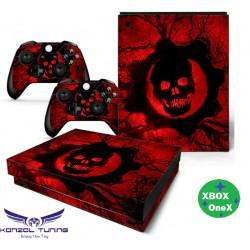 Xbox One X - Konzolra és kontrollerre - Matrica - Red Skul