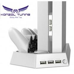 PS4 Pro - PS4 Slim -PS4 Fat Konzolhoz - Vertikális állvány -hűtővel,dupla kontroller töltővel és USB HUB-bal -fehér