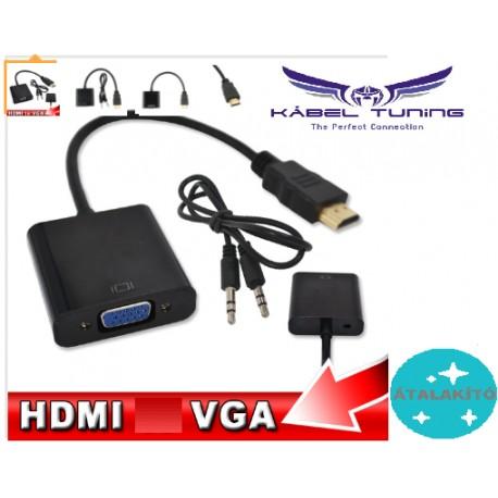 ÁTALAKÍTÓ - ADAPTER - HDMI-VGA adapter + audio kábel Male to Female