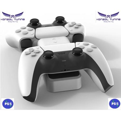 PS5 - Kontrollerhez asztali dupla töltő - White Sky
