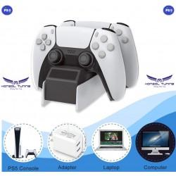 PS5 -Kontrollerhez asztali töltő állvány - dupla - White Box