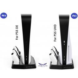 PS5 - Konzolhoz  és kontrollerhez asztali vertikális állvány -hűtő- kontroller töltő és HUB