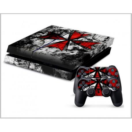 PS4 Skin - Konzolra és kontrollerre - Biohazard Black - Red
