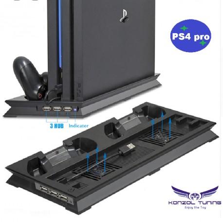 PS4 Pro - Konzolhoz - Vertikális állvány -hűtővel,dupla kontroller töltővel és USB HUB-bal